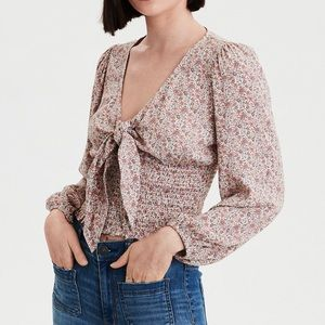 American Eagle smocked top